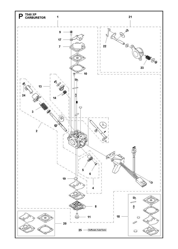husqvarna t540 xp carburetor parts