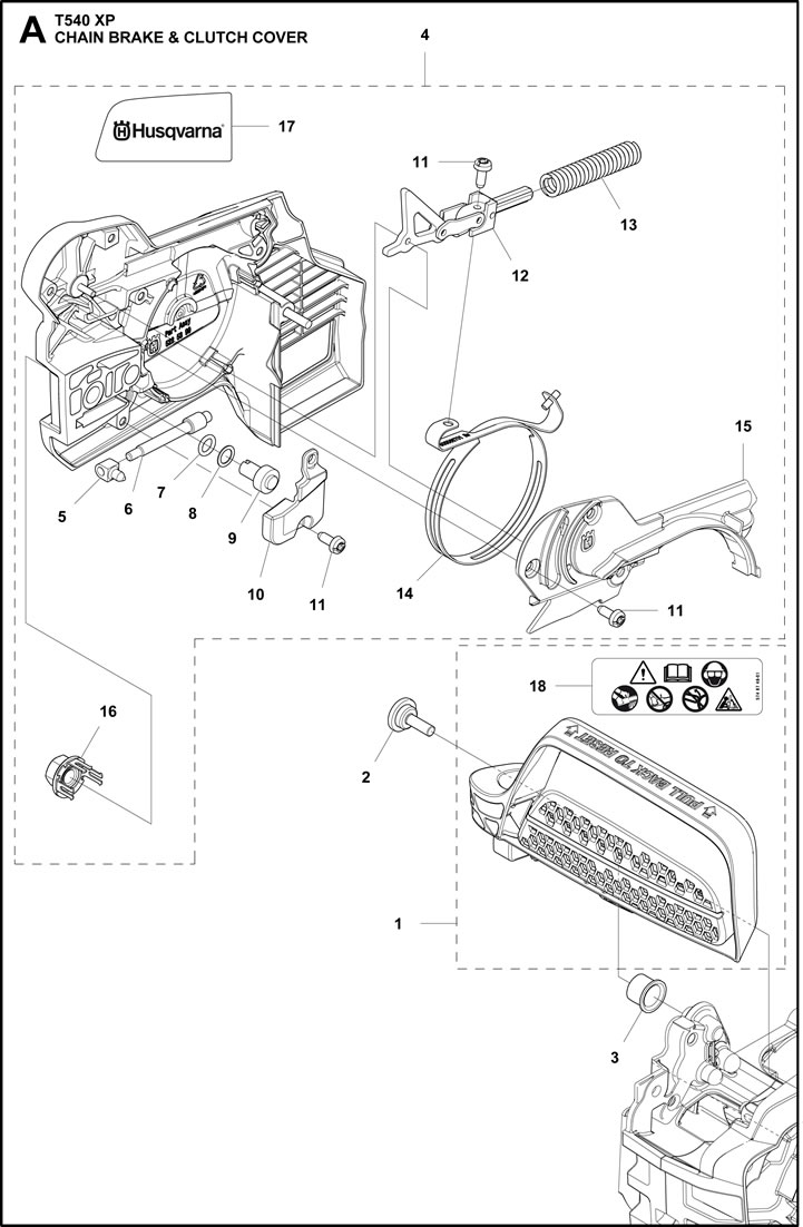 T540_Chain Brake_Clutch Cover husqvarna t540 xp chain brake and clutch cover parts honey