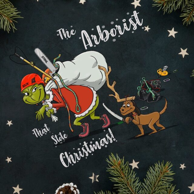 'The Arborist that stole Christmas' 🎄⛄️🎅    A first for Honeybros, our Christmas Jumpers drop next week! ⬇️    The limited-edition green jumpers feature this design created for us by @colm.champ & will be available to buy from next Friday.    Get your grinch on! 😈    #honeybrothers #christmasjumper #thegrinch #christmas #arborist #arbmerch #arblife #arbjumper